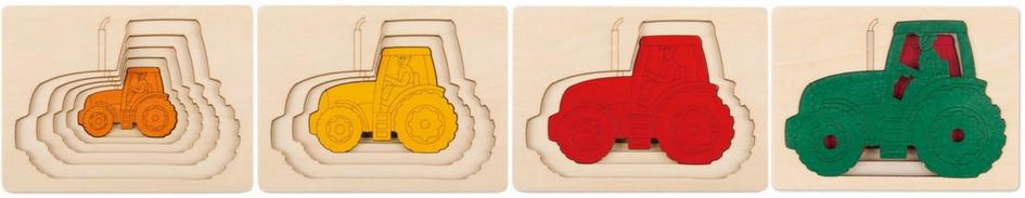 Puzzle en bois tracteur enfant