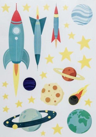 Stickers muraux sur le thème des fusées et espace