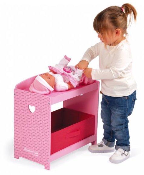 Table à langer rose en bois pour jouer à la poupée